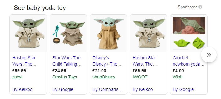 Baby Yoda shopping search result