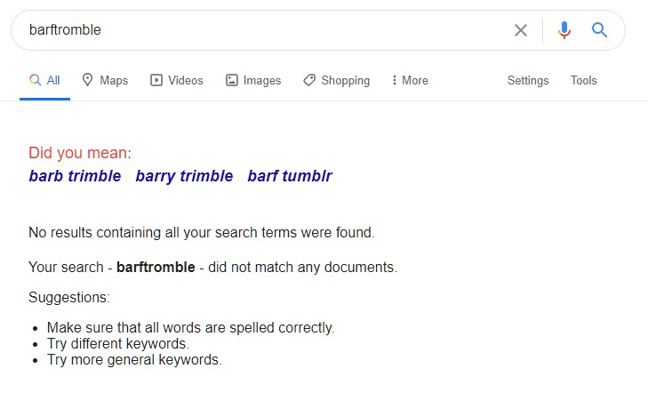Barftromble in the SERPs
