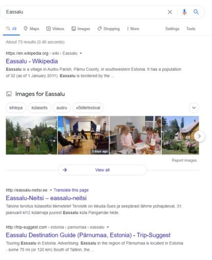 Eassalu Google SERP